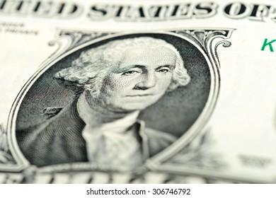 One dollar bill fragment macro Washington eyes