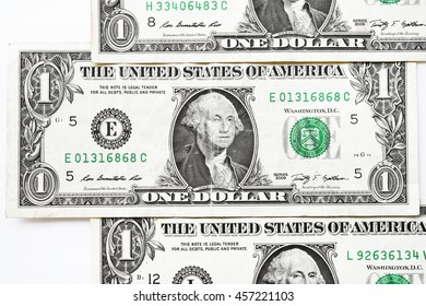 One dollar bills isolated on white background