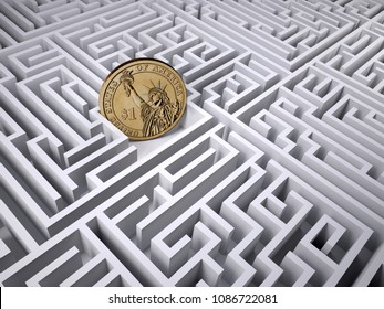 one dollar coin in the labyrinth maze, 3d illustration