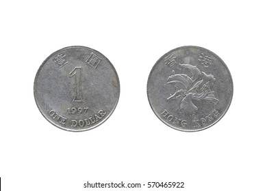 One dollar hongkong 1992 coin isolated on white background