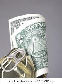 one dollar in a iron tin