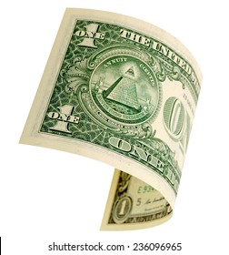 One dollar isolated on a white background.