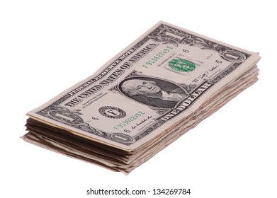 one dollar notes stacked