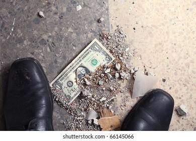 one dollar on a floor.