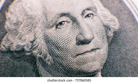 one dollars bills close-up. american banknotes