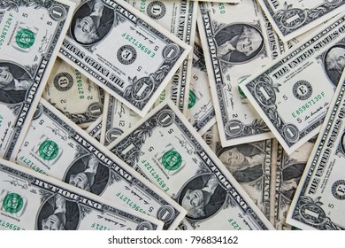 One dollars pile, Background of one dollar bills, money concept, valuable information exchange, rates table, US Dollar, United States, sign, business, American, Rich