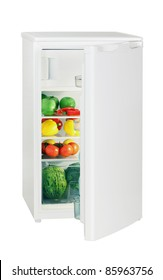 One door refrigerator isolated on white