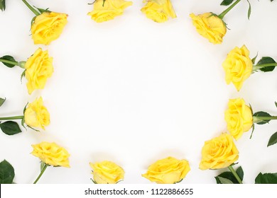 One dozen fresh yellow roses with tiny pink streaks surround the edges of white paper. Beautiful roses with green leaves on the edges of white paper creating a border of yellow rose flowers background