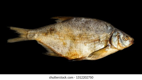 One dried fish isolated on black background