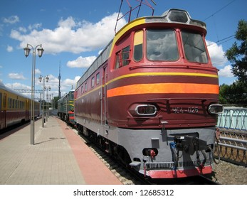 One of the electric locomotives in Moscow museum of railway