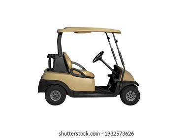 one electric vehicle car for golf , on white background, isolated