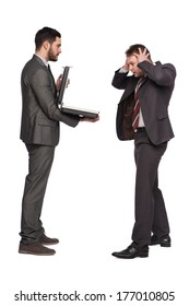 one elegant man showing a briefcase to another businessman on white