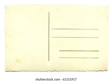 one empty blank vintage post card isolated on white background.