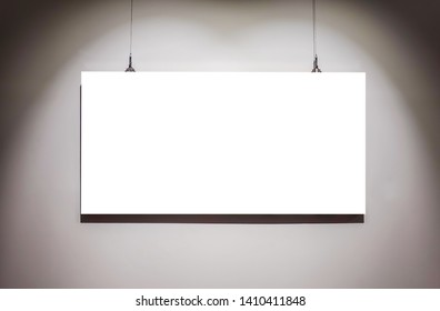One empty frames on wall in art gallery museum exhibit blank white isolated clipping path