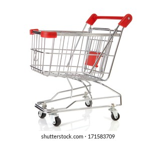 One empty shopping cart over white background