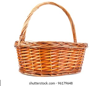 One empty woven basket on white background