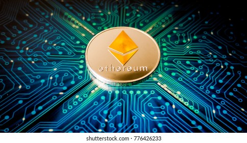 One Ethereum coin on a background of blue circuit board pattern