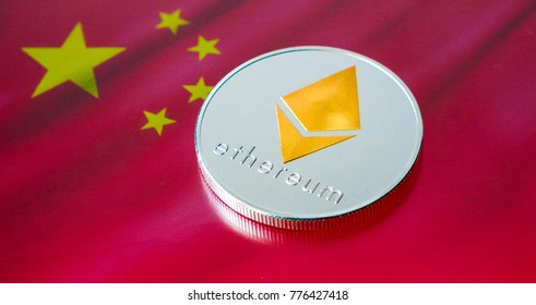 One Ethereum coin on a Chinese flag background