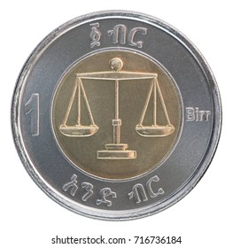 One Ethiopian birr with the image of a scales Themis isolated on a white background