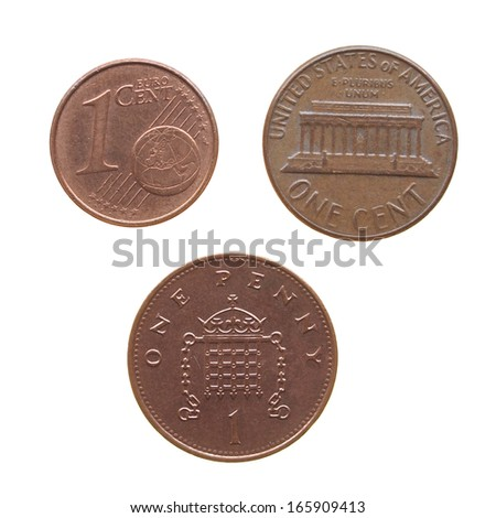 One Euro Cent One Dollar Cent Stock Photo (Edit Now) 165909413
