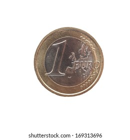 One Euro coin (currency of the European Union) isolated over white background