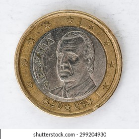 one Euro Coin with europe espania backside used look