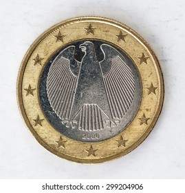 one Euro Coin with europe german backside used look