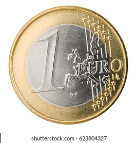 one euro coin isolated on white background finance currency symbol