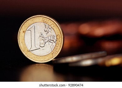 One Euro Coin Isolated on black Background