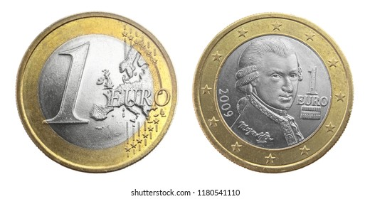 One euro coin with Mozart portrait, Austria. Isolated on white