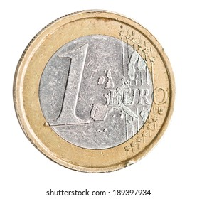 One euro coin on white. coin with scratches and scuffs