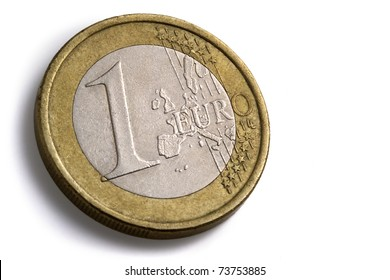 one euro coin on white background