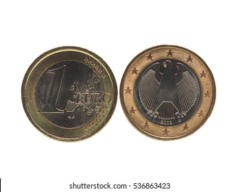 One Euro (EUR) coin, currency of European Union (EU) isolated over white background