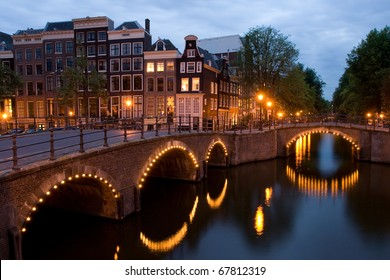 One of the famous canals of Amsterdam, the Netherlands at dusk.