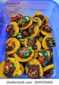 One of famous and delicious Malaysian dessert, Kuih Cara Berlauk. Main ingredients is flour and minced beef.
