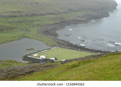 One of the famous strangely placed soccer fields in the world: Eidi, Faroe Islands.