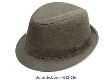 One fashion hat made of dark denim isolated in white