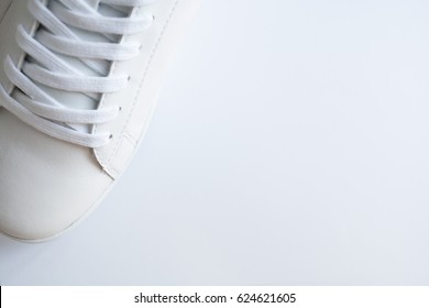One fashion sneaker on white background. Top view