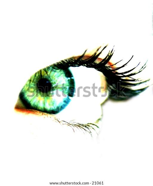 one female close-up one green eye