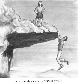 One female stands on an outcropping that a man dangles from the bottom edge of. Woman looks from a cliff top while a man hangs from it with his hands.
