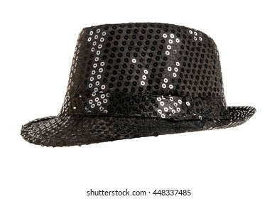 one festively shining black hat, from one side, on white background; isolated