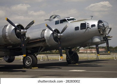 One of the few B-17 Flying Fortress bombers still in existence, used by the U.S. Air Force in Europe during World War II.