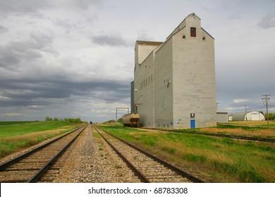One of few remaining wooden prairie grain elevators on the Canadian prairies.  This iconic prairie sentinel is at Mossbank Saskatchewan