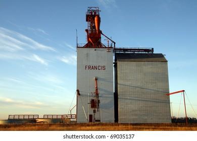One of few remaining wooden prairie grain elevators on the Canadian prairies. This iconic prairie sentinel is at Francis Saskatchewan