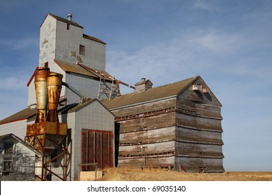 One of few remaining wooden prairie grain elevators on the Canadian prairies. This iconic prairie sentinel is abandoned at Bromhead Saskatchewan