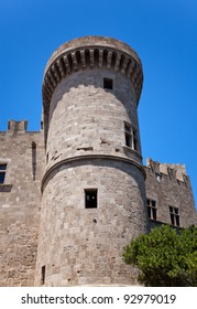 One of few towers at the Grand Master Palace in Rhodes town, Greece.