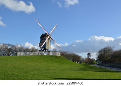 One of the few windmills in belgian city bruges.