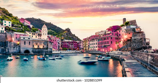 One of the five towns that make up the Cinque Terre region - Vernazza. Great spring sunrise in Liguria, Italy, Europe. Splendid seascape of Mediterranean sea. Traveling concept background.