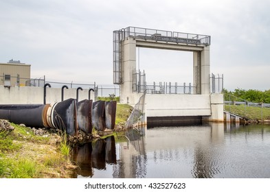 One of the Flood doors and pumps at the Tamiami trail in Miami, to control the water flow into the Everglades National Park.  These doors and pumps were designed by the U.S. Corps of Army Engineers.