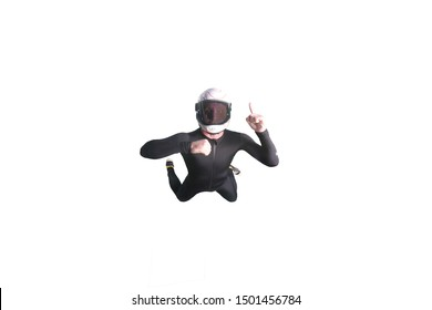 One. Fly men show one finger in up. Sky diver in suit. Teampleat skydiver on white background.